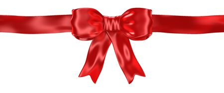 Shiny satin red ribbon bow isolated on white - 3d render Stock fotó