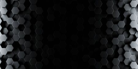 Dark hexagon wallpaper or background - 3d render