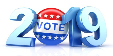 Vote 2019. Red, white, and blue voting pin in 2019 with Vote text. 3d render. Stock fotó