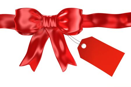 Shiny satin red ribbon with gift tag isolated on white - 3d render