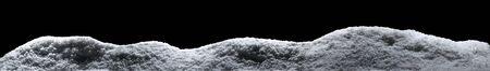 Banner of sparkling fuffy white snow hills isolated on black 版權商用圖片