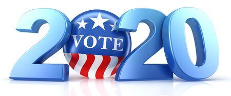 Vote 2020. Épinglette de vote rouge, blanche et bleue en 2020 avec texte de vote. rendu 3D. Banque d'images