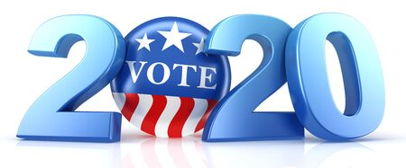 Vote 2020. Red, white, and blue voting pin in 2020 with Vote text. 3d render.