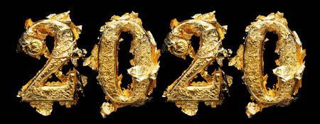 2020 New Years numbers in messy and wrinkled gold leaf isolated on black 版權商用圖片 - 138574269