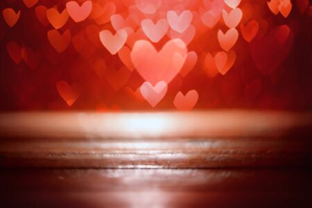 Bright red hearts abstract bokeh background 版權商用圖片