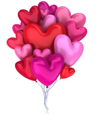 Bunch of red and pink balloons in the shape of hearts isolated on white - 3d render 版權商用圖片