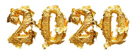 2020 New Years numbers in messy and wrinkled gold leaf isolated on white