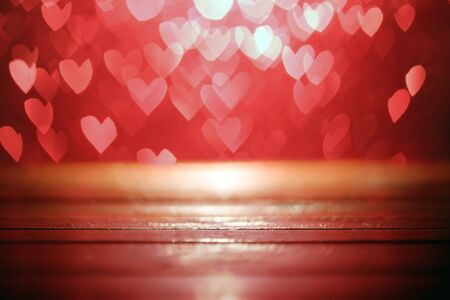 Bright red hearts abstract bokeh 版權商用圖片