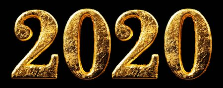2020 New Years numbers in shiny gold leaf isolated on black