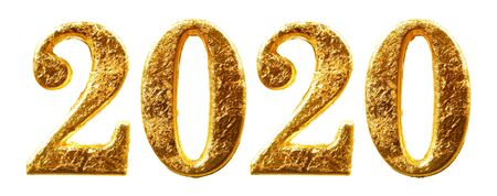 2020 New Years numbers in shiny gold leaf isolated on white