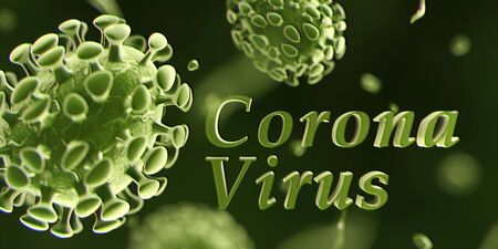 Viral disease outbreak of 2019-ncov virus, Coronavirus, endemic microscopic illustration. 3d render.