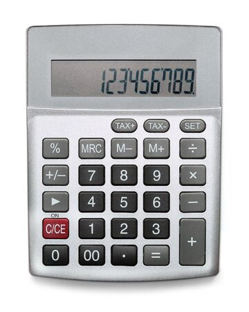Silver calculator isolated on white 版權商用圖片 - 141028551