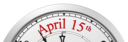 Tax time deadline on a clock - 3d render