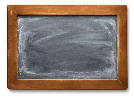 Dusty and dirty old vintage chalkboard with worn wooden frame. Blank empty blackboard with space for text.
