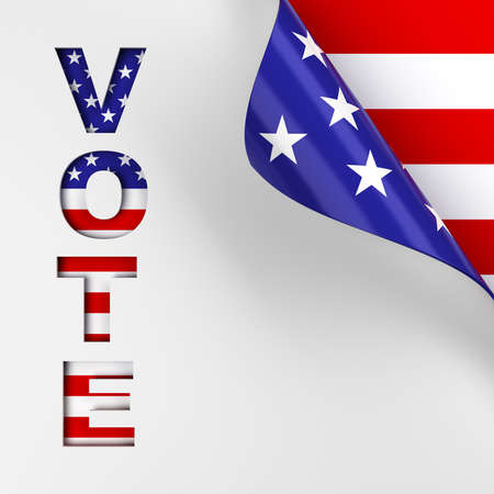 Vote in red, white, and blue American flag colors page turn background. 3d render.
