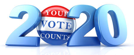 Vote 2020. Red, white, and blue voting pin in 2020 with Your Vote Counts text. 3d render. 版權商用圖片