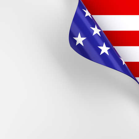 Blank white page with turn in red, white, and blue American flag colors. 3d render. 版權商用圖片