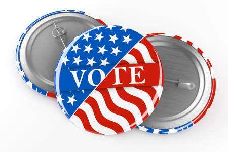 American red, white, and blue Vote pin. Voting button for US presidential election or local elections. 3d render.