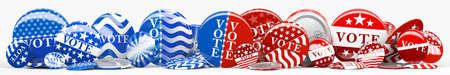 Panorama of various American red, white, and blue Vote pin. Collection of voting buttons for US presidential election or local elections. 3d render.