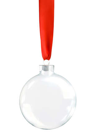 Clear Christmas ornament hanging from shiny red ribbon. Empty space in bauble for text or product. Isolated on white. 版權商用圖片