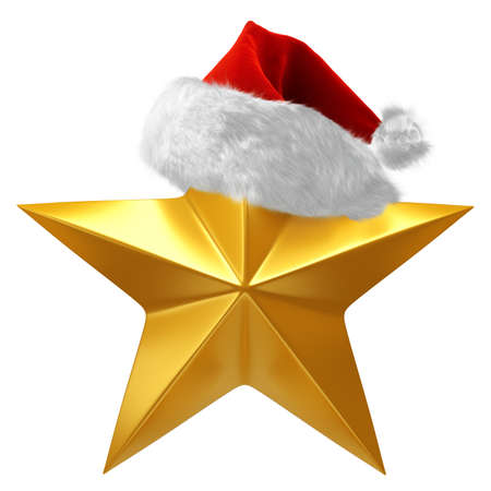 Shiny gold star for quality rating or ranking, topped with red and white Christmas Santa hat - 3d render