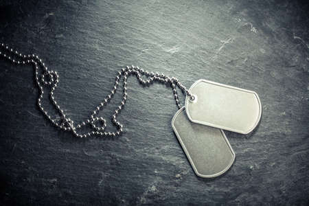 American military dog tags. Rough and worn with blank space for text. Memorial Day or Veterans Day concept.