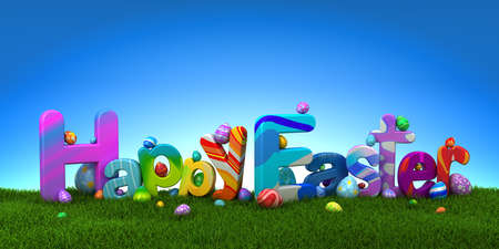 Happy Easter text with colorful eggs on green grass with blue sky - 3d render