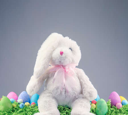 Stuffed animal Easter Bunny surrounded with painted Easter eggs and colorful decorations.