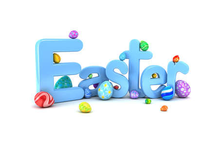 Easter text surrounded by colorful Easter eggs isolated on white