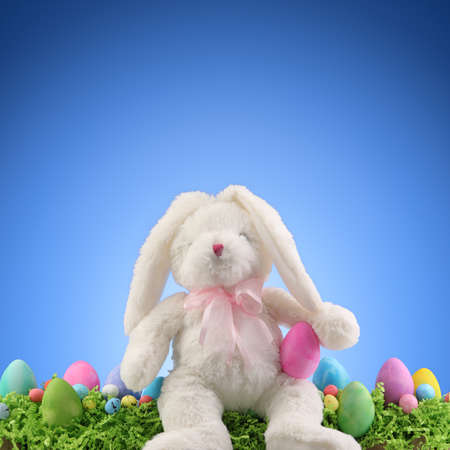 Stuffed animal Easter Bunny surrounded with painted Easter eggs and colorful decorations. Copyspace for text.