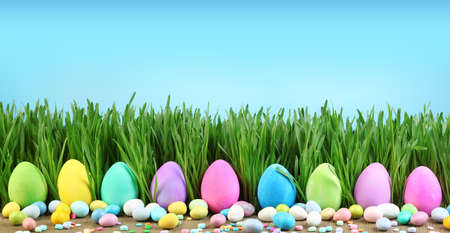Painted Easter eggs in grass and colorful Easter candy.