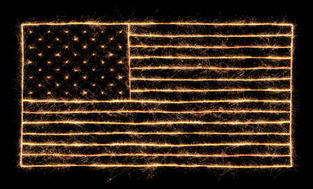 4th of July sparklers lit up in the shape of the American Flag
