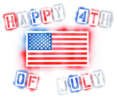 Fourth of July with American Flag in spray paint stencils background 版權商用圖片