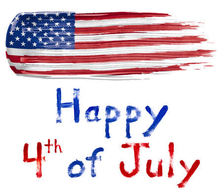Paint smear in the colors of the American Flag with Happy Fourth of July text