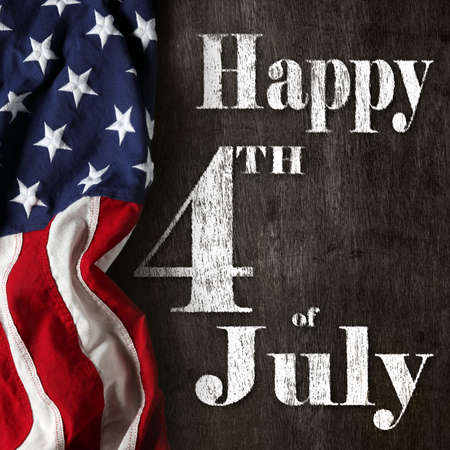 Happy fourth of July text with red, white, and blue American Flag