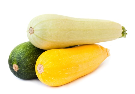 colorful vegetable marrow isolated on white photo