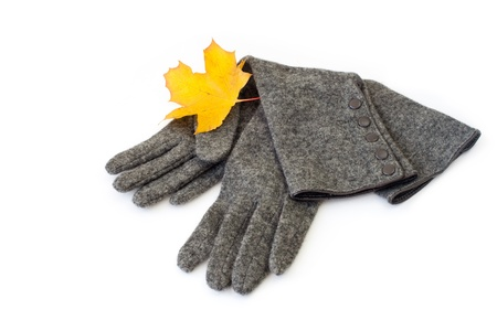 Gray long textile gloves with maple leave photo