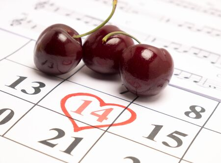 shaped: Red heart on calendar,Valentines day concept