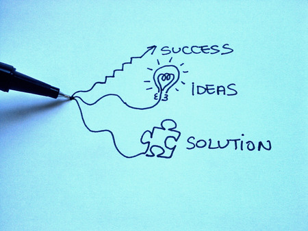 Drawing of a pen generating success, ideas and solutions photo