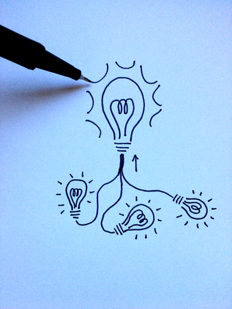 Design of small ideas connected forming a big idea photo
