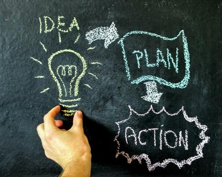 Idea blackboard drawing action plan Foto de archivo