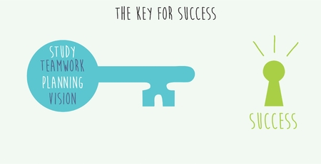 The key for success metaphor illustration
