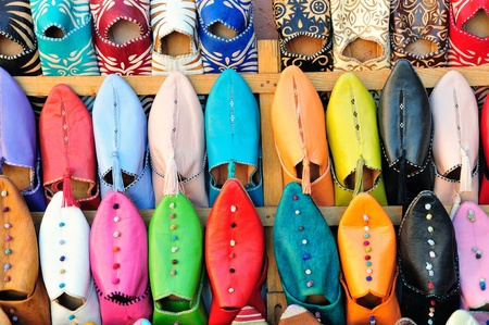 morocco: Marrakech -  typical leather shoes sold in a street market Stock Photo