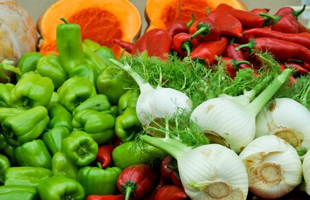 A colorful closeup of vegetables - fennel (anise), green peppers, red peppers and squash at a farmers market Stock Photo - 15037379