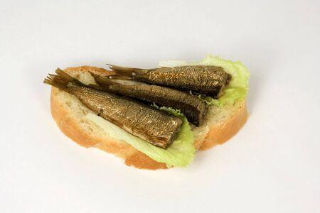 kipper: open sandwich with a kipper and leaves of lettuce