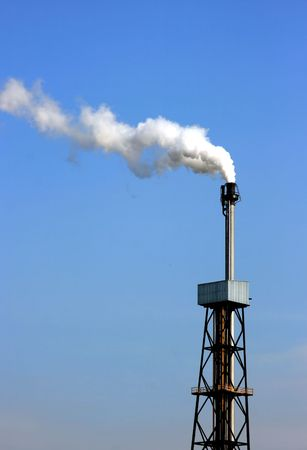 white chimney smoke with blue sky Stock Photo - 3677553