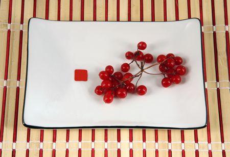 servilleta de papel: Viburnum bayas de color blanco en un plato sobre una servilleta de bamb�