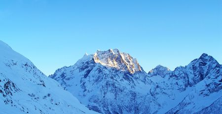 High mountains under snow in the winter Stock Photo - 4047830