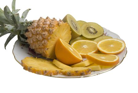 fresh tropical fruit on a dish photo