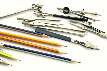 plotting: Various tools for plotting of projects Stock Photo